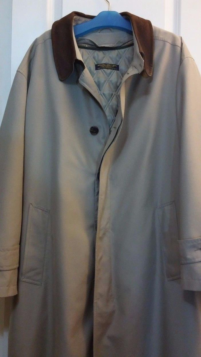 Brooks Brothers Tan LEATHER COLLAR Trench Coat, w/Lining - Men's LG OVER COAT
