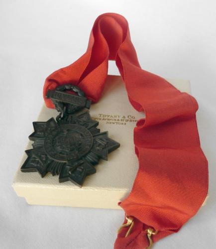Antique TIFFANY+CO NY National Guard Medal 10 Years Faithful Service~BOX+RIBBON