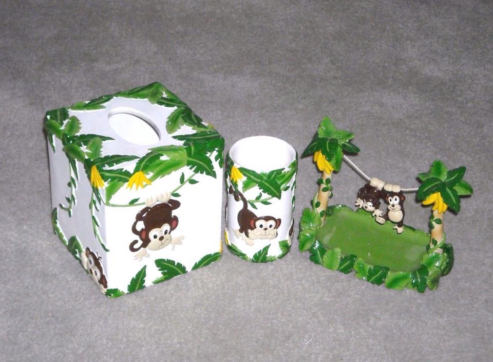 ceramic monkey soap dish tissue holder & tumbler bath accessories