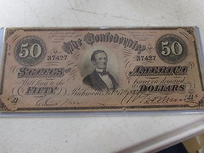FIFTY DOLLAR BILL CONFEDERATE STATES OF AMERICA