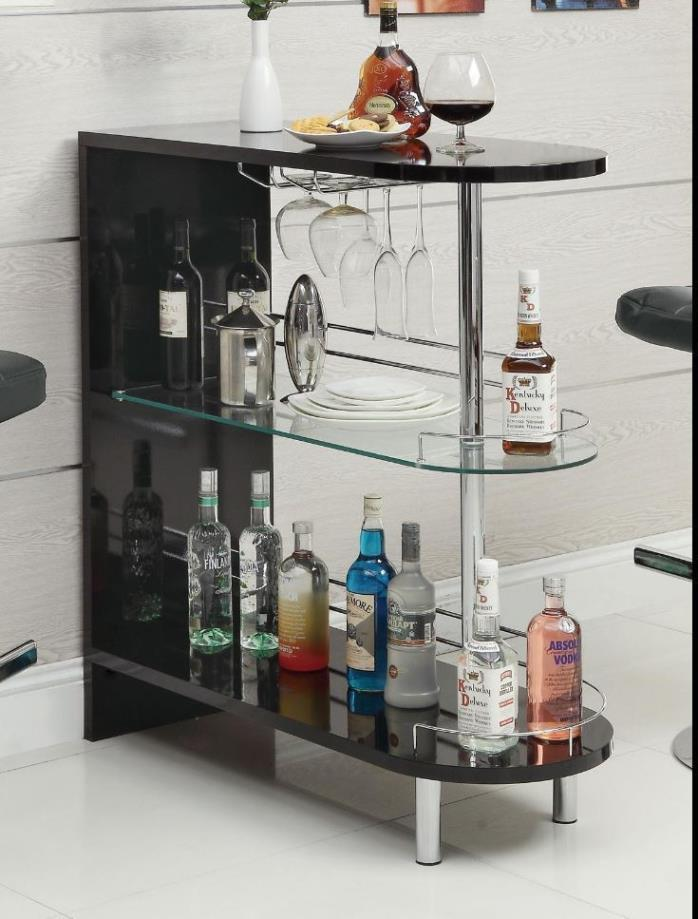 Bar Table Pub Modern Kitchen Contemporary Black Glass Shelf Chrome Leg Stemware