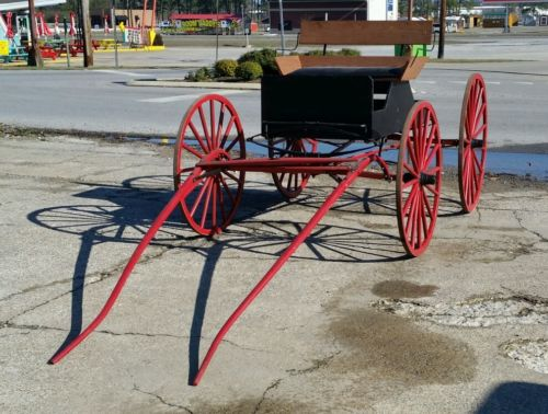 Antique horse drawn spring buggy wagon carriage