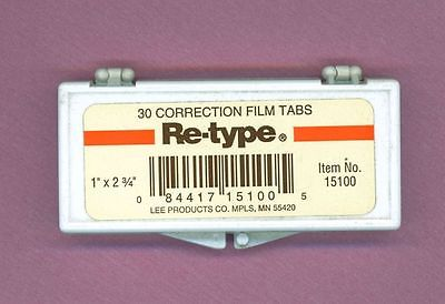 Vintage Re-Type Correction Tabs Typewriter 30 Tabs 1 x 2 3/4 very Handy Item