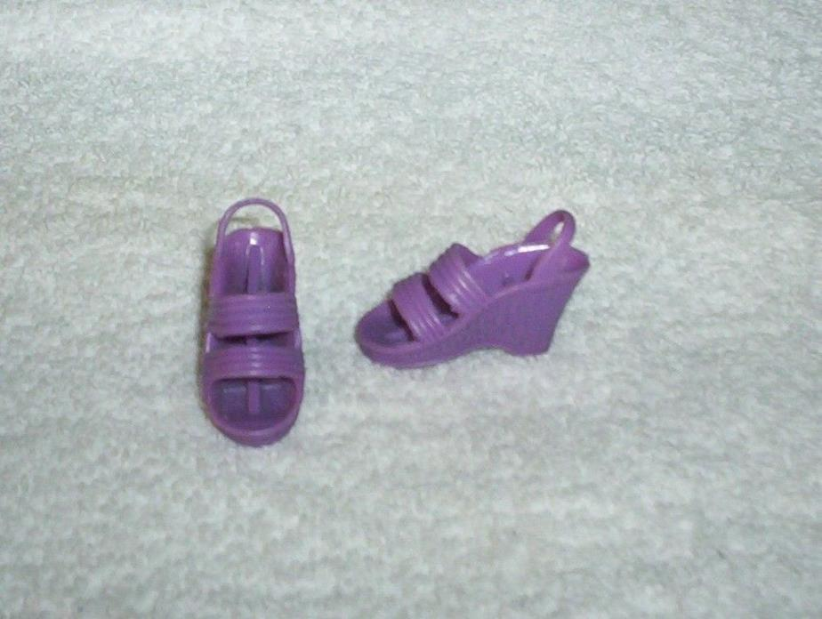 Vintage 1970's BIONIC WOMAN Lilac Butterfly Purple Sandals Wedge Shoes Kenner