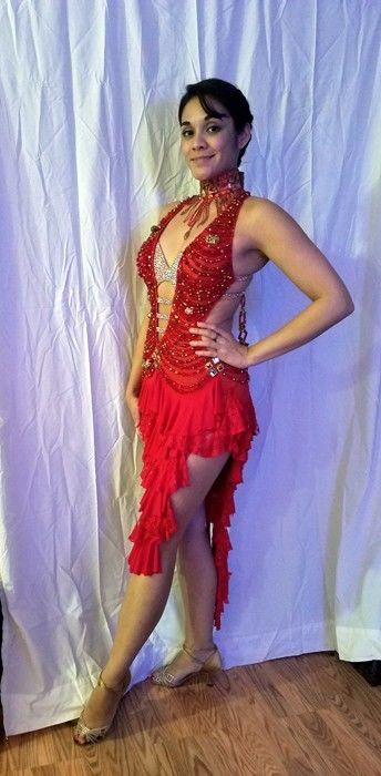 Gorgeous, Red, Lenique Latin Ballroom Dress Small/Medium