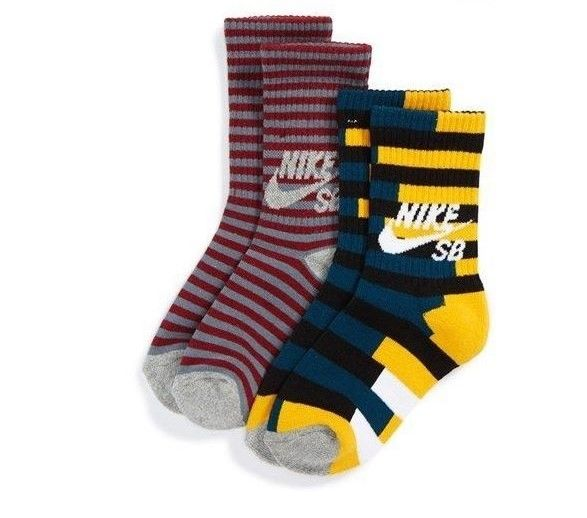 Nike 'SB Striped Out' Crew Socks (2-Pack) (Big Kid) Sz 7-9 $14