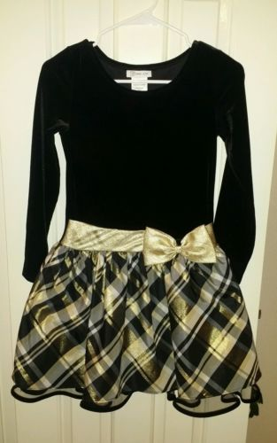 Dress, Bonnie, Black Gold, Size 12 Youth, Velvet material on top, Holiday