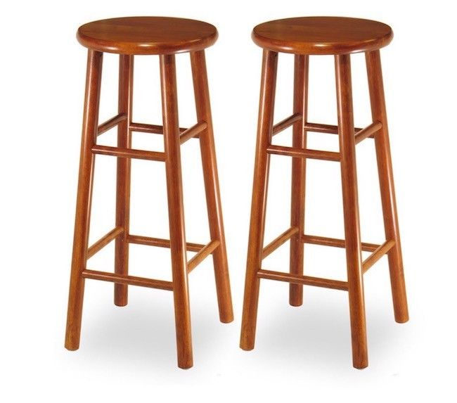 Kitchen Bar Stools Wood Counter Height Wooden Backless Furniture 30 In Set of 2