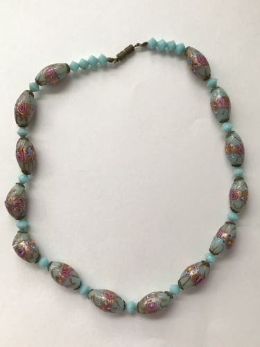 "Vintage Venetian Murano Glass Bead Necklace 16 1/2"" Long 3 Cracked Beads"