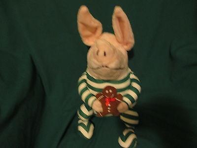 PLUSH CHRISTMAS OLIVIA PIG N PJ'S W/GINGERBREAD MAN 2007 GUND