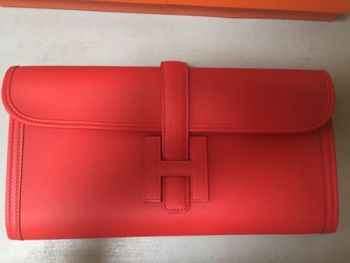 Hermes Capucine Swift Jige Elan Clutch 29cm, Never Used