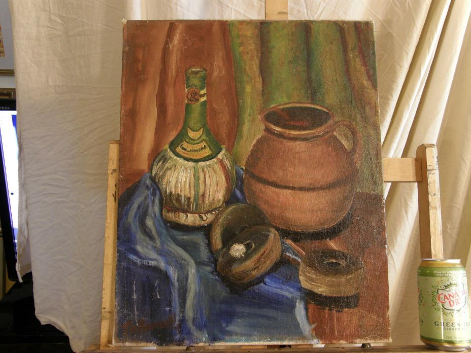 Mid Century Impressionism Still Life 'TABLE COMPOSITION' Vintage Oil Painting