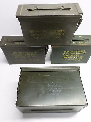 Vintage US ARMY METAL AMMO BOXES - Lot of Four (4)