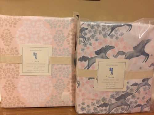 NEW 5PC Pottery Barn Kids Clara Sateen FULL QUEEN Duvet + QUEEN Sheet Set HORSES