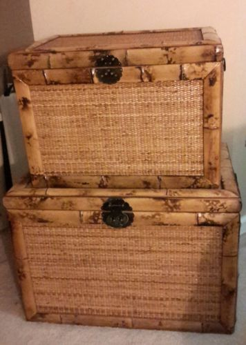 Two Large Wick-Bamboo look Decorative Wood Trunks for Storage/ Home Decor