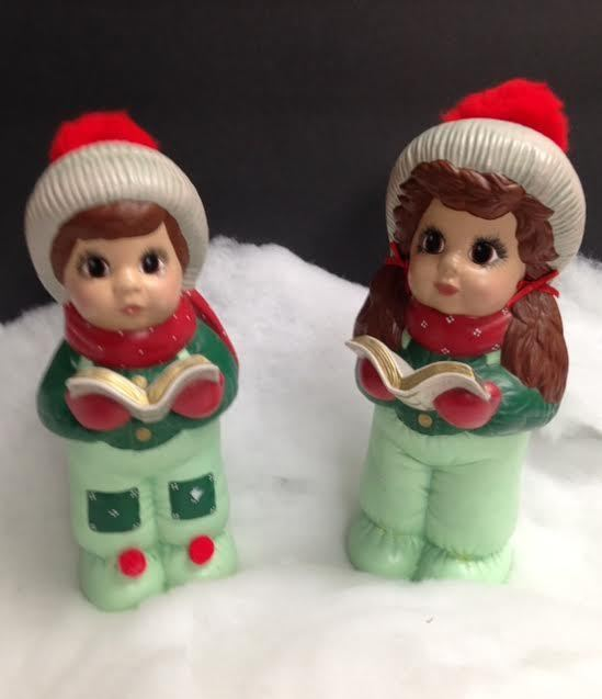 Vintage Ceramic Christmas Carolers Choir Boy And Girl: Ceramic Christmas Carolers