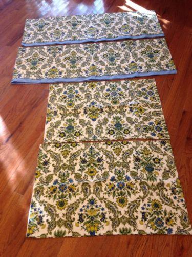 Vintage Handmade 2 Standard Pillow Cases 2 ValancePaisley Upholstery Fabric EUC