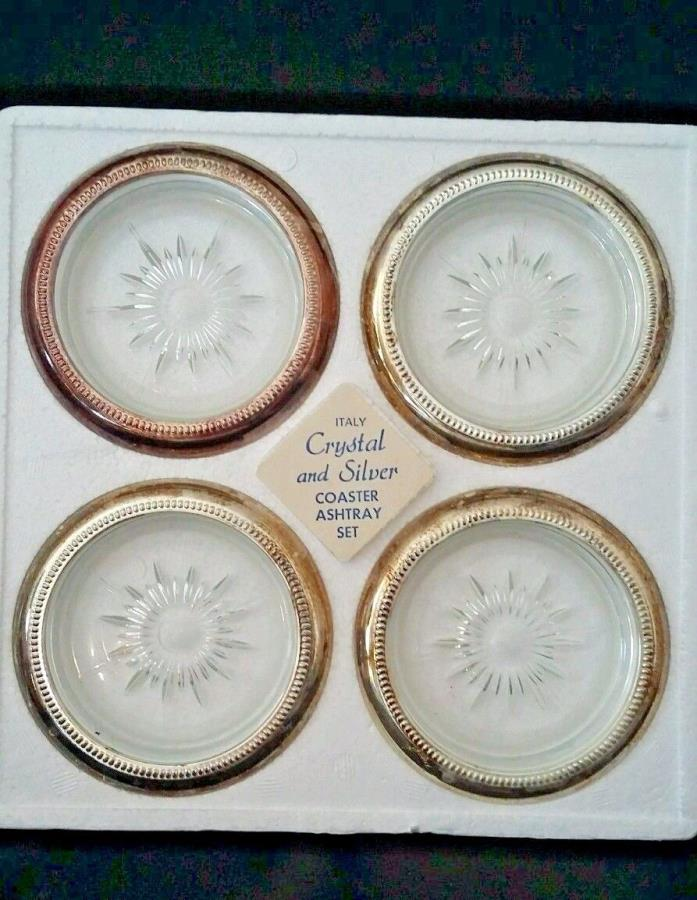 Italy Coaster Ashtray Set of 4 Crystal and Silver Set  Vintage