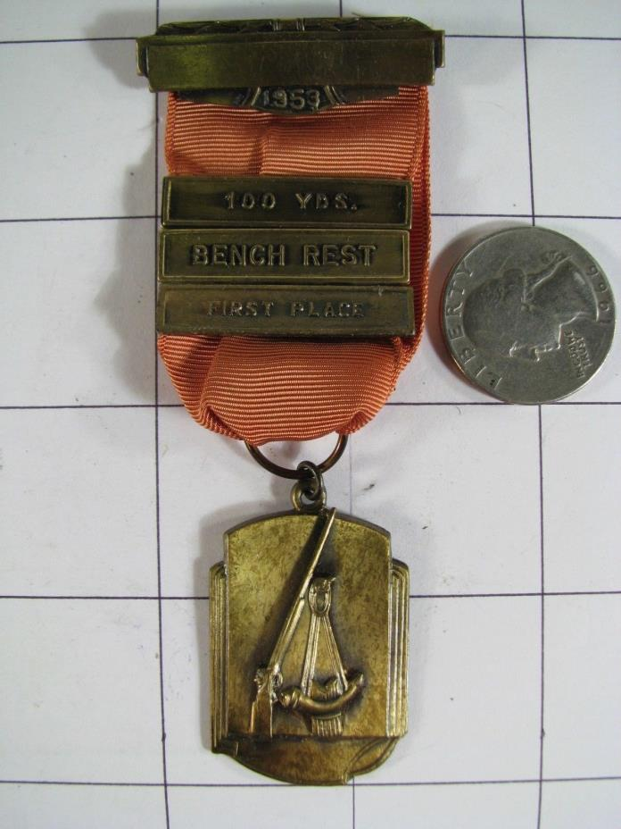 1953 !ST Place Blackinton 100YD Bench Rest Shooting Medal w Box Alfred Harberts