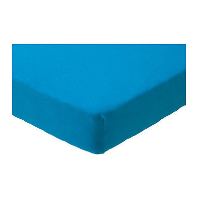 Ikea Len Fitted Sheet Blue Bedding Nursery 100% Cotton 2 Pack 103.324.81