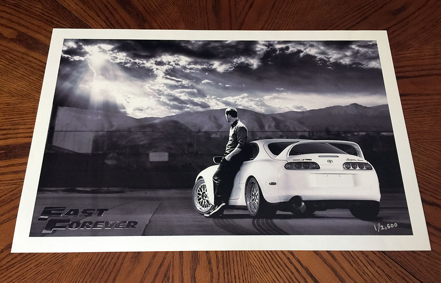 Fast & Furious Paul Walker tribute movie art print poster photo supra turbo 7