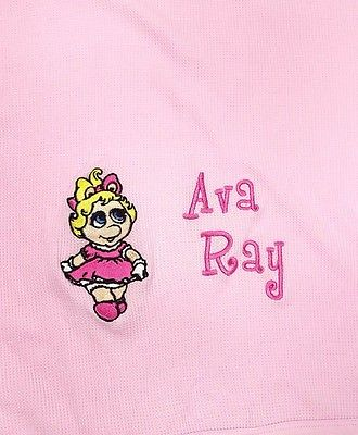 Personalized  Ava Ray Rabbit Skins Miss Piggy Baby Blanket Pink Thermal Cotton