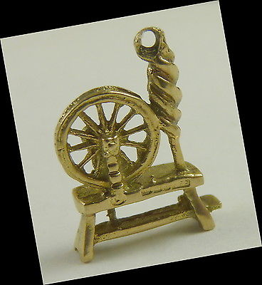 Spinning Wheel Charm Vintage English 9K Gold small size