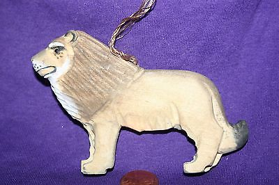Hand carved hand painted wood ornament Lion A
