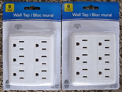 LOT OF 2 ELECTRICAL WALL TAP CONVERTS 2 GROUNDED TO 6 GROUNDED OUTLETS WHITE