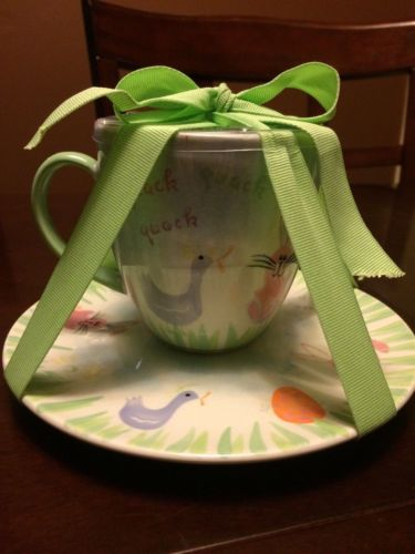 NEW Starbucks Easter Bunny Duck Ceramic Tea Cup w/ Saucer Coffee Mug Spring 2007