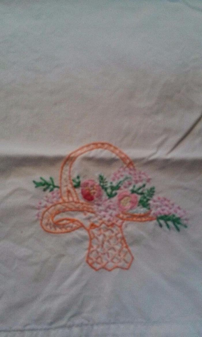 VTG PILLOW CASE BASKET ORANGE PINK