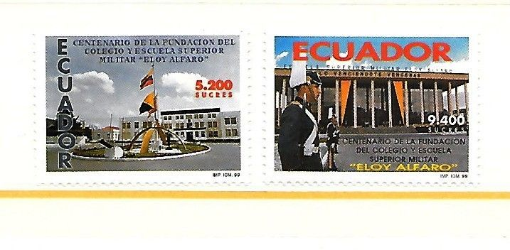 ECUADOR Sc 1485-6 NH ISSUE OF 1999 - MILITARY COLLEGE
