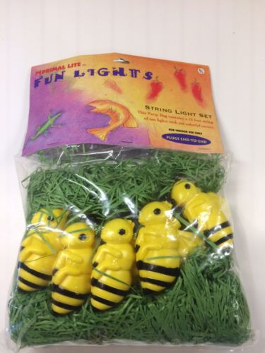 NEW Bumble Bee Mini Lights Christmas Tree RV Tiki Bar Yellow Jacket
