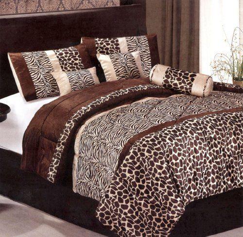 7 Piece Queen Brown Micro Fur Animal Print Zebra Giraffe Comforter Set Bedding