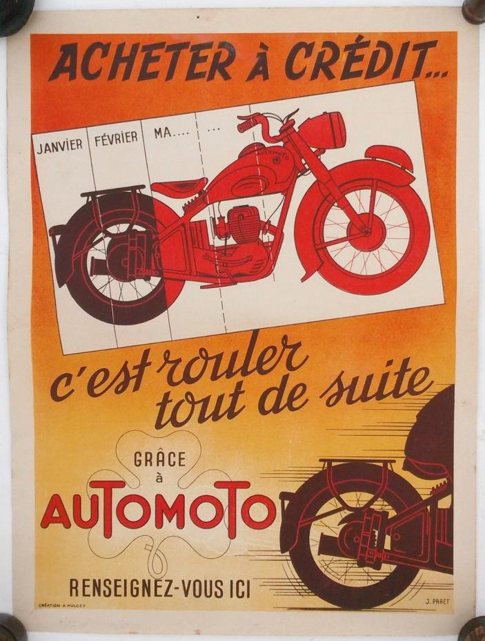 Vintage French Auto Moto Motorcycle Poster 15.75