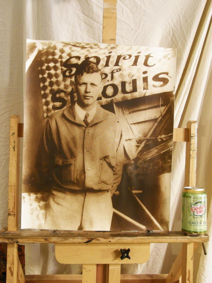 Large CHARLES LINDBERGH Vintage Picture Aviation Airline Memorabilia