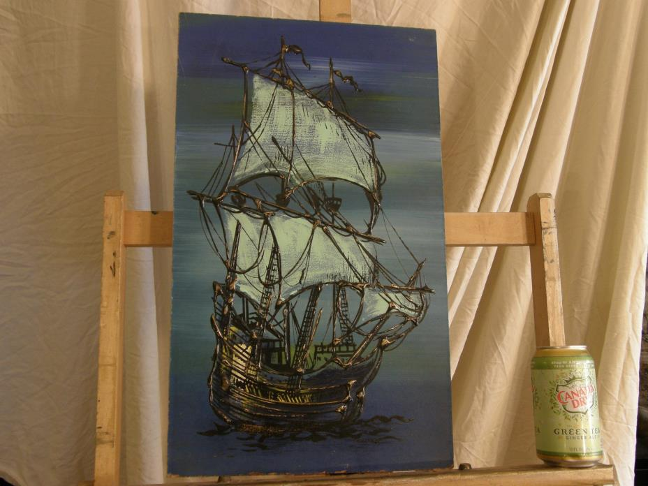 Mid Century 'SHIP ANCHORED IN THE NIGHT' Vintage Oil Painting