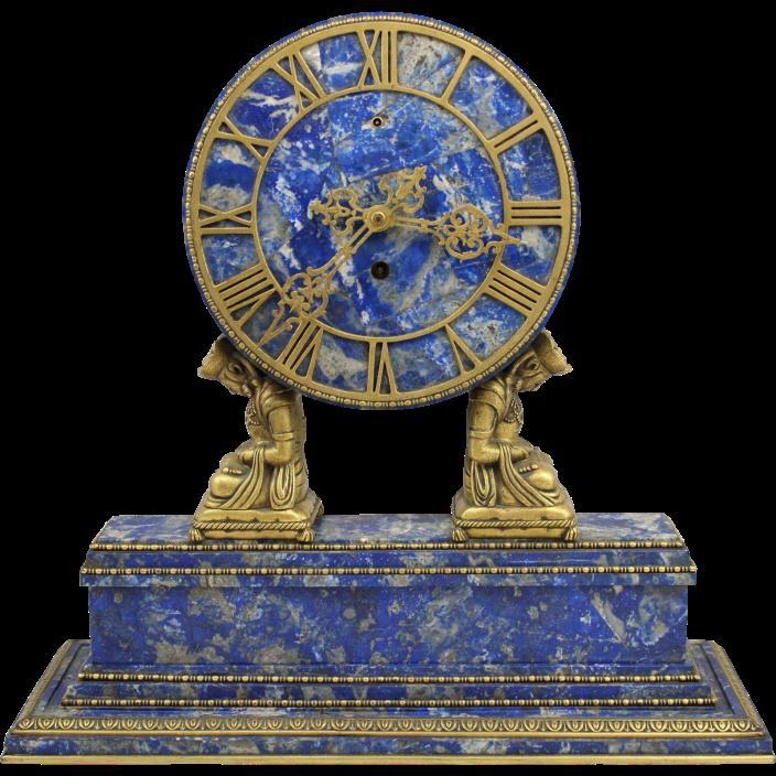 Brazilian Lapis Lazuli Mantel Clock in Chinese Motif with Doré Bronze Signed Cal