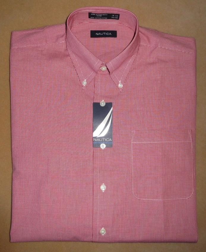 Men's NWT 49.50 NAUTICA 100% Cotton Red Checked Button Down Shirt 15 1/2 32 33