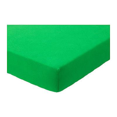Ikea Len Fitted Sheet Green Bedding Nursery 100% Cotton 2 Pack 403.324.89