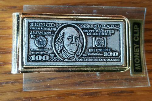 $100 Bill Gold tone MONEY CLIP New