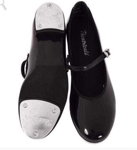 NIB Theatricals Premium Buckle Tap Dance Shoes, Toddler 6.5 & 7M BLACK Patent