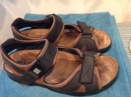 Mephisto Shark Dark Brown / Black Waxy Comfort Sandal Mens 44 / 10 NEW $279