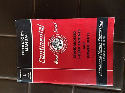 Continental Red Seal L Head Engine Power Unit Operators Operation Manual