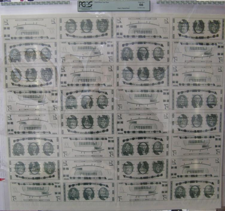 1970's Giori Press Test Uncut Sheet (32 subjects) PCGS certified Gem New 66
