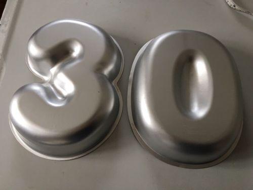 Wilton Aluminum Cake Pans - 3 0 30 Birthday Anniversary Cake Pans