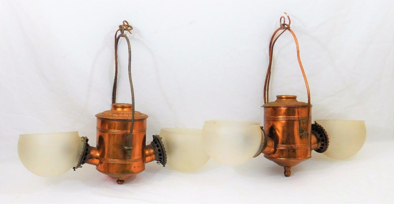 Pair Antique ~Angle Lamp Co.~ New York Hanging Copper Double Oil Kerosene Lamps