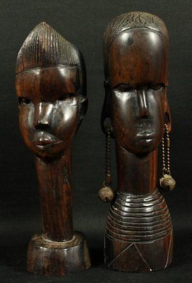 PAIR OF WOODEN CARVED FIGURES