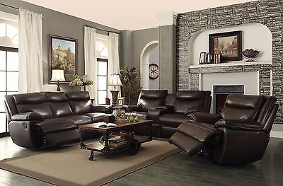 TOP GRAIN LEATHER BROWN RECLINING SOFA & LOVE SEAT LIVING ROOM FURNITURE SET