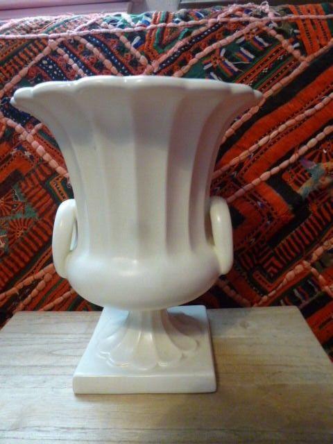 Vintage Matte White  Planter or Vase, Classic Urn Shaped